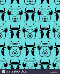 cow and pig seamless pattern of boar and bull ornament pork