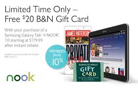 Barnes And Noble Coupon Code Nook 20 B U0026n Gift Card When You Buy A Samsung Galaxy Tab 4 Nook