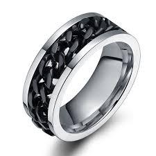 titanium chain rings images Black chain design silver titanium steel men 39 s ring tinnivi jewelry jpg