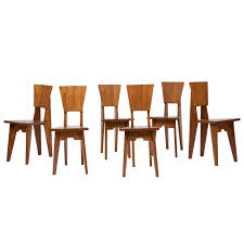 jean rené caillette set of six wooden chairs circa 1950 for sale