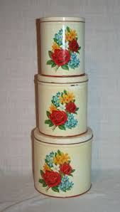 vintage canister set red and yellow roses by g s w general steel