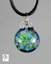 Glass Pendant Green Garden Pendant Lampwork Necklace