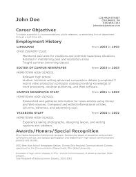 Resume Career Objective Teenager Resume Free Excel Templates