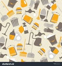 seamless pattern decorative home cleaning elements stock vector