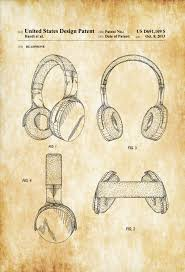 headphone patent patent print wall decor headphone poster