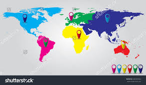 Map With Pins World Color Continents Map Pins Stock Vector 286583384 Shutterstock