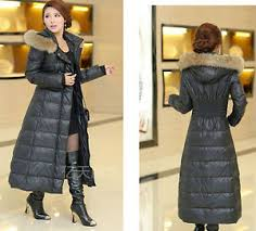 Plus Size Down Coats Womens Winter Full Length New Plus Size Fur Collar Hooded Long