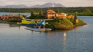 airplane aircraft landscape usa alaska lake water island