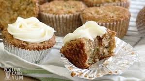 zucchini spice cake cupcakes cream cheese frosting low carb yum