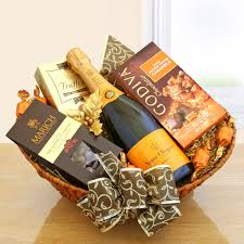 wine and chocolate gift basket classic chagne gift basket veuve clicquot wine