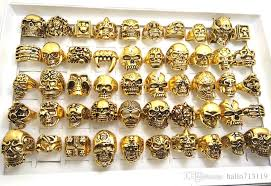 big rings online images Top mix gold big skull skeleton gothic rings men 39 s biker punk jpg