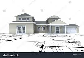 residential blueprints 3d rendering residential architecture model on stock illustration
