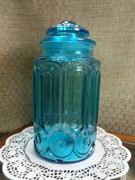 colonial blue le smith moon u0026 stars glass flour canister 11 1 2