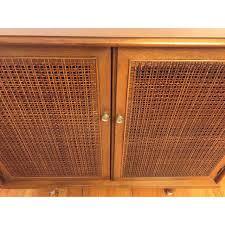 mid century storage cabinet mid century modern walnut cane storage cabinet chairish