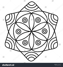 simple flower mandala pattern coloring book stock vector 520800499