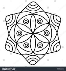 simple flower mandala pattern coloring book stock vector 520800499