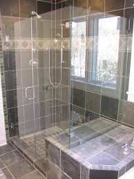 bathroom frameless shower doors with silver handle with gray