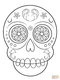 sugar skull simple easy coloring pages printable tri color digital