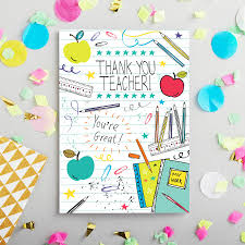 thank you cards for teachers thank you card by hogarth notonthehighstreet