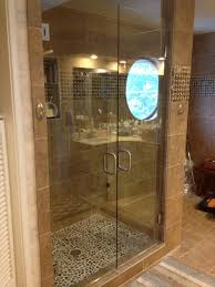 Euro Shower Doors by Bathroom Elegant Euro Frameless Shower Door With Striped Bath Mat