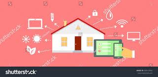 House Flat Design by Smart House Concept Icon Flat Design Stock Illustration 348413942