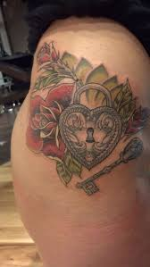 nathanemery traditional heart locket and key tattoo by nathan