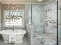 bathroom mirror white subway tile shower wall full size chair rail frameless shower glass pony wall bench timeless bathroom alcove