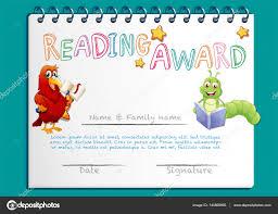 Prize Certificate Template Reading Award Certificate Template With Bird Reading Book Stock