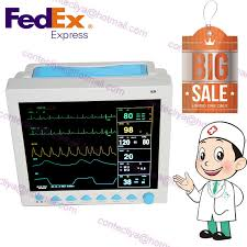 icu vital signs patient monitor 6 parameter ecg nibp spo2 temp pr