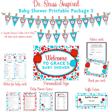 seuss baby shower printable package turquoise u0026 red truffela trees
