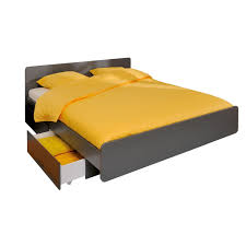 gray solid wood queen bed frame with storage drawer using yellow