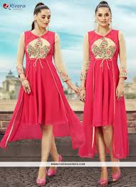 cocktail party attire pink embroidered work party wear kurti