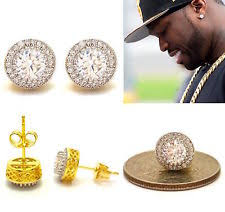 diamond stud earrings for men mens 18k yellow gold finish lab diamond back stud earrings 8