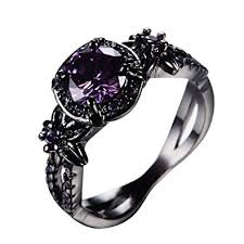 amethyst wedding rings rongxing jewelry trendy womens purple cz ring gold