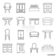 home interior vector furniture and home interior set icons in outline style big