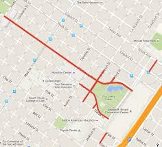 houston map convention center road closures for downtown houston during four weekend
