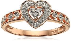 heart ring 10k gold diamond heart ring 0 04 cttw i j color i2