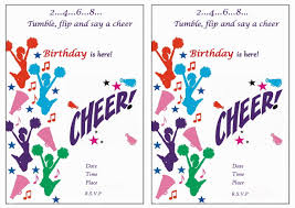 cheerleading free printable birthday party invitations birthday