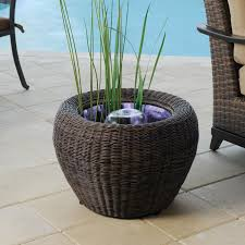Patio Pond by Pond Boss Mocha Wicker Urn With White Led Light