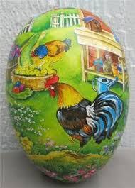 vintage paper mache easter eggs and a fiddler bunny german easter egg