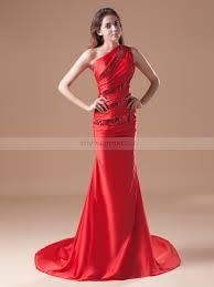 stylish one shoulder sequined elastic satin mermaid prom dress