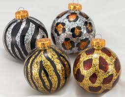 animal print glass ornament set of 4