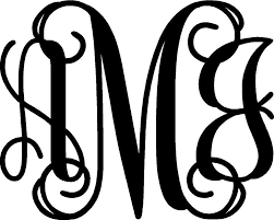 monogram letter sweet blue