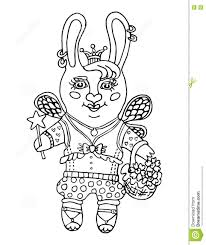 outline drawing a cute rabbit fairy in the princess crown and