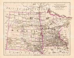 Map Minnesota North Dakota And Minnesota Map 1881 Stock Vector Art 643817276