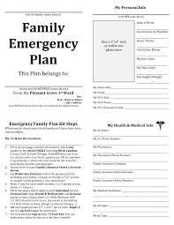 home design emergency plan template family printable documents for