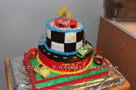 cool homemade 3 tier disney cars cake