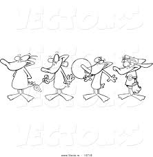 vector of a cartoon black and white outline design of ducks in a