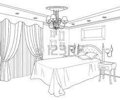 drawing room editable vector illustration of an outline sketch