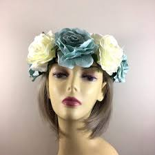 hair fascinators ivory duck egg flower crown hair garland flower garlands